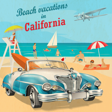 Beach vacation to California retro poster.