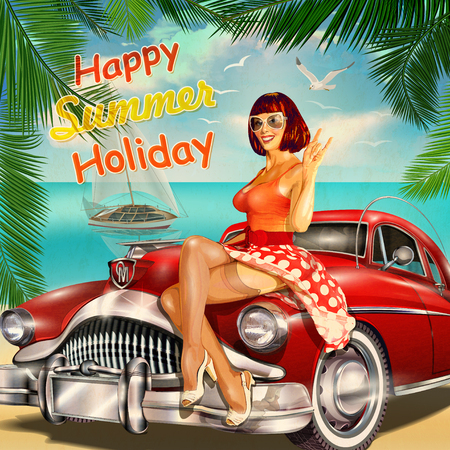 Vintage summer holidays background with pin-up girl and retro car. 일러스트