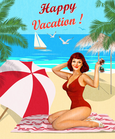 Vintage vacation background with pin-up girl on the beach. Фото со стока - 78903695