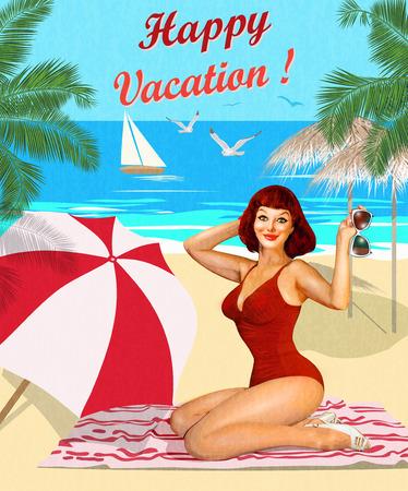 Vintage vakantie achtergrond met pin-up meisje op het strand.