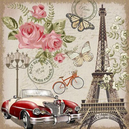 Cartão postal vintage de Paris. Foto de archivo - 80924571