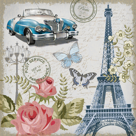 Paris vintage briefkaart. Stock Illustratie