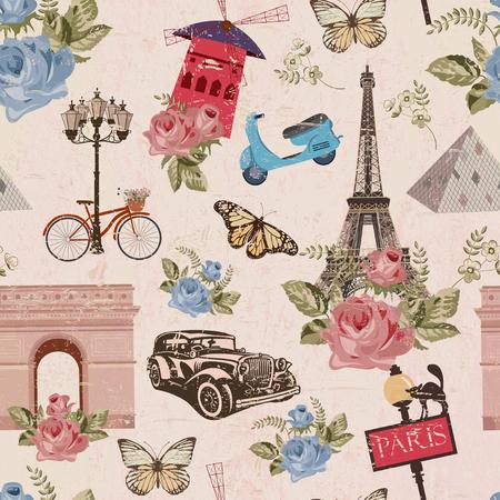 シームレスなパリ旅行壁紙。ヴィンテージ背景。  イラスト・ベクター素材