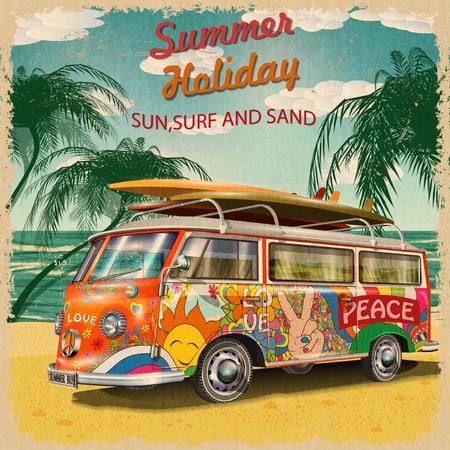 Sommerferien Poster mit Retro-Bus Standard-Bild - 80926484