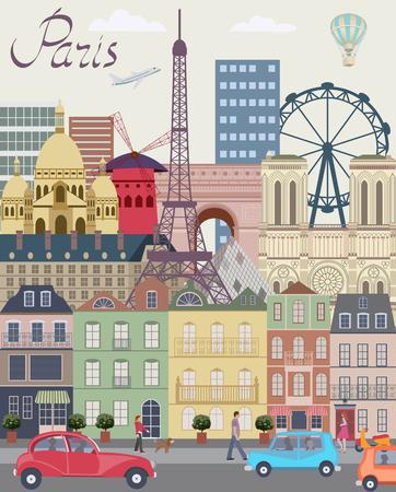 Vector stad achtergrond Parijs Stock Illustratie