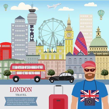 Vector city background, London Travel, A man travels in Lonlon; Flat design.