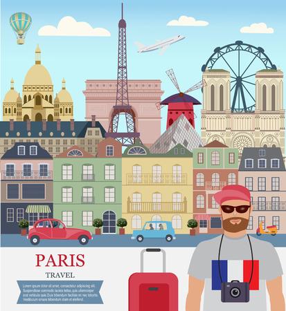Vector city background, Paris Travel, A man travels in Paris; Flat design.