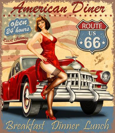 Diner route 66 vintage poster Stok Fotoğraf - 80926491