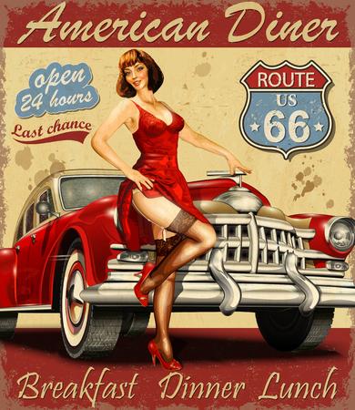 Diner trasy 66 plakat vintage Ilustracje wektorowe