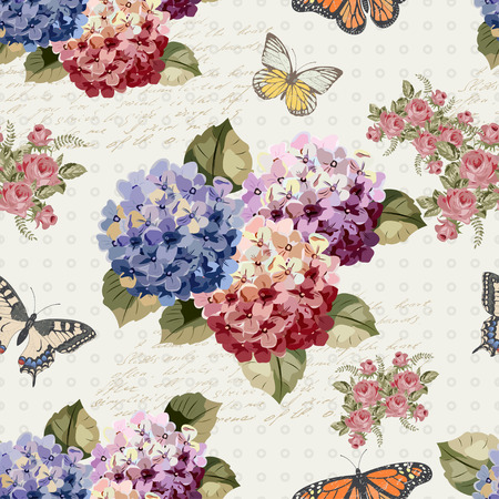 Seamless vintage background with  flowers and butterflies.