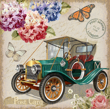 Retro car on vintage background.
