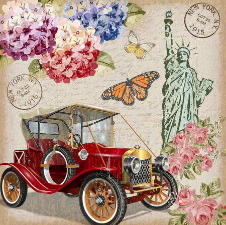 Nowy Jork rocznika plakatu. Ilustracje wektorowe