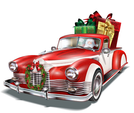 Pickup truck with gift box in the trunk. Ilustracja