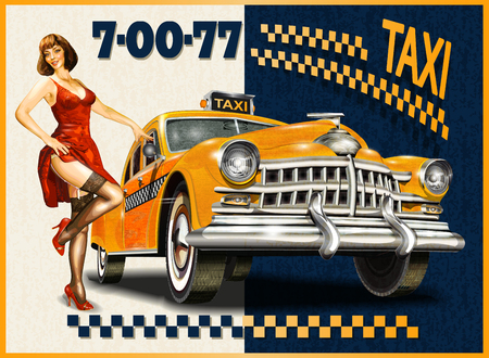 Taxi card with Pin-up girl and retro yellow taxi. 矢量图像