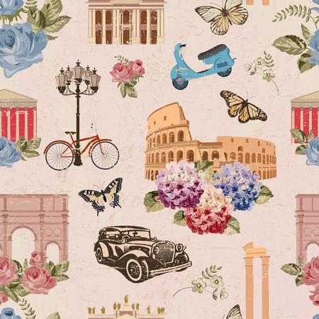 원활한 로마 여행 벽지입니다. 빈티지 배경입니다.