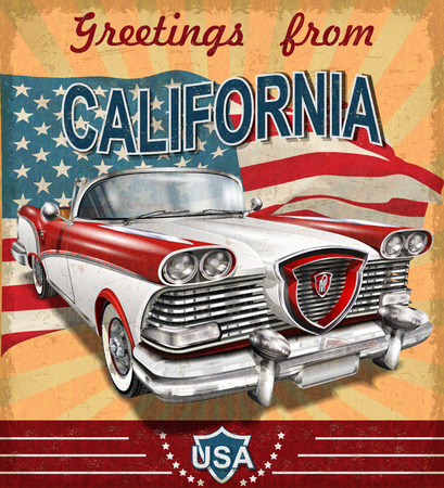Vintage touristic greeting card with retro car.California.