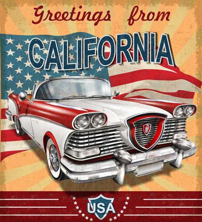 Vintage toeristische wenskaart met retro car.California.