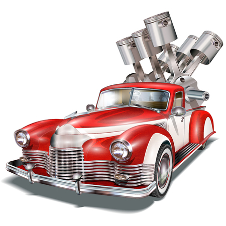 Retro Pickup truck with crankshaft in the trunk. Illustration