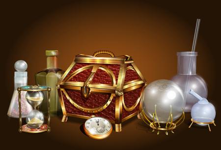 Set magische accessoires voor? Hemistry, hekserij, alchemie, magie, occultisme.