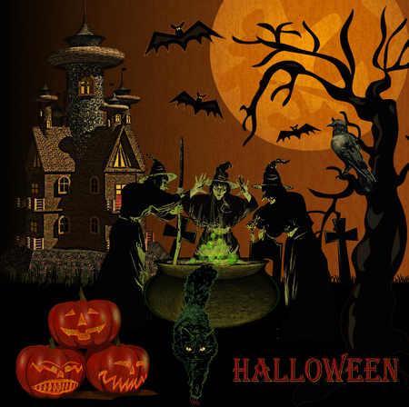 Brokeback Witches brews magical potion.Halloween background. Illusztráció