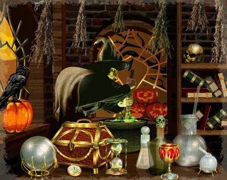 Brokeback Witch breekt magische potion.Halloween achtergrond. Stock Illustratie