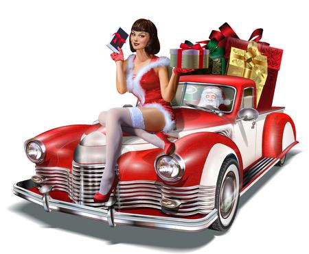 Navidad pin-up girl con caja de regalo en manos mientras está sentado en el coche retro. Ilustración de vector