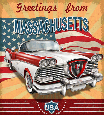 Vintage touristic greeting card with retro car.Massachusetts