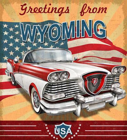 レトロな車でビンテージ観光グリーティング カード。ワイオミング州