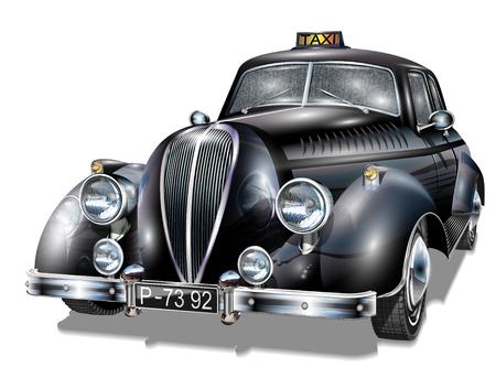 런던 빈티지 택시. 일러스트