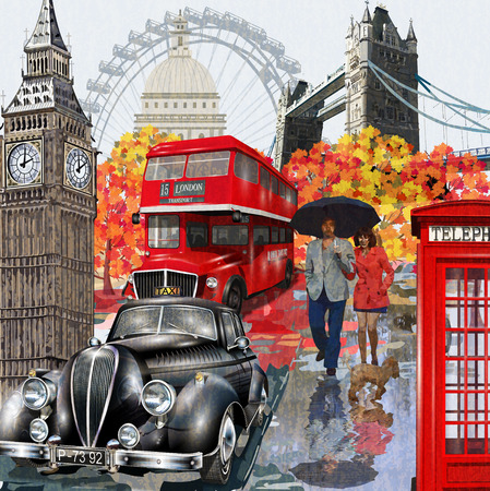 Londen vintage poster. Stock Illustratie