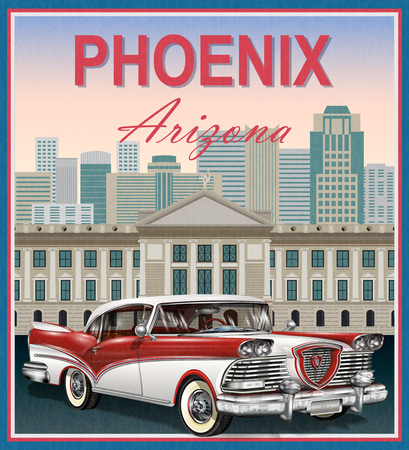 Phoenix.Arizona レトロなポスター。