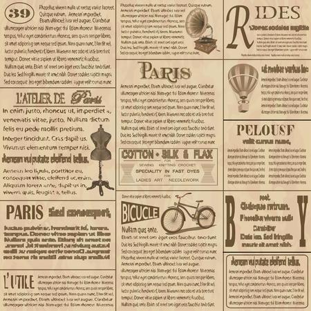 오래 된 신문 프랑스어 배경입니다. 일러스트