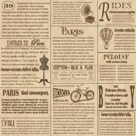 Old newspaper  french background. 版權商用圖片 - 82718202