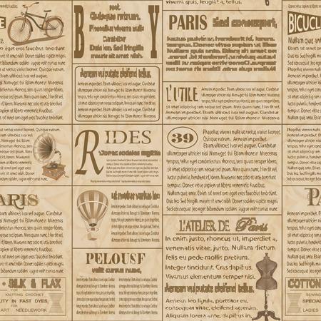 원활한 오래 된 신문 프랑스어 배경입니다.