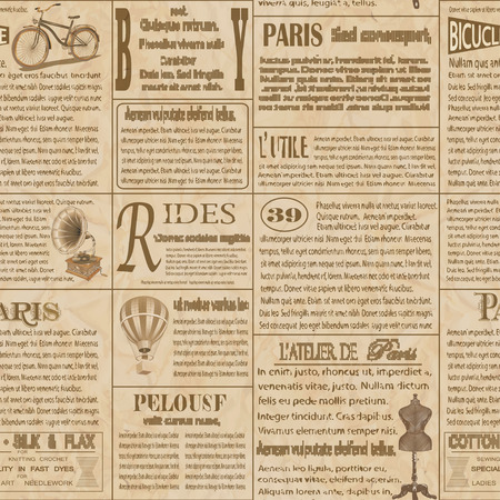 Seamless old newspaper  french background. Çizim