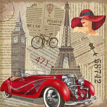 ビンテージ ポスター パリ、ロンドン新聞の背景を引き裂かれました。