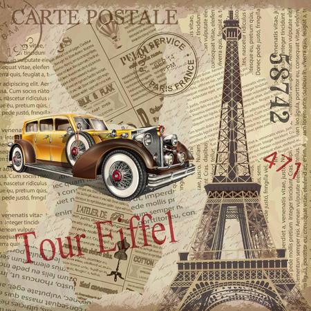 Vintage poster Parijs gescheurde krantenachtergrond.