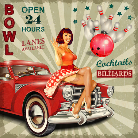 Bowling vintage poster with pin-up girl and retro car.