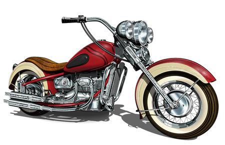 Classic vintage motorcycle. Illustration