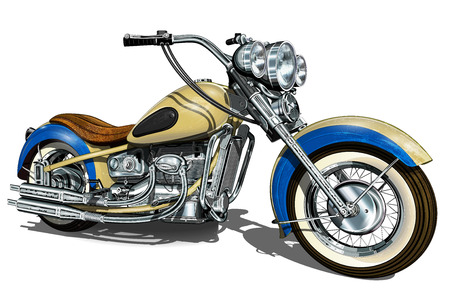 Motociclo vintage classico. Vettoriali