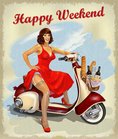 Pin-up girl on old scooter with  basket of food for  weekend. Illustration