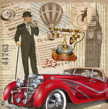 빈티지 포스터 런던 찢어진 된 신문 배경입니다.