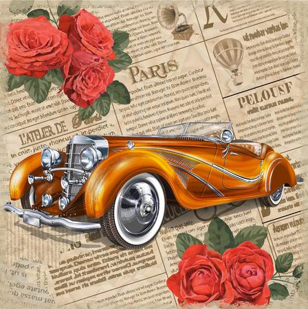 Retro car on vintage newspaper background.