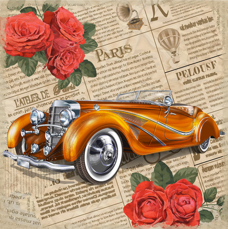 Retro car on vintage newspaper background.