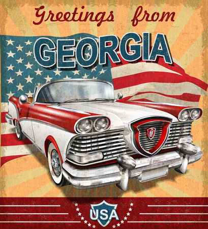 Vintage touristic greeting card with retro car.Georgia. Zdjęcie Seryjne - 83972842