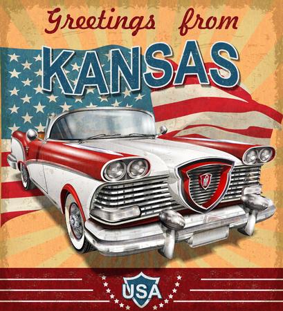 Vintage touristic greeting card with retro car.Kansas. Illustration