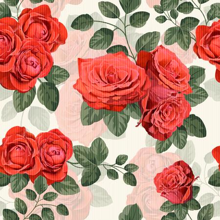원활한 빈티지 패턴과 장미,