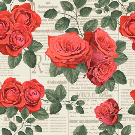 Seamless vintage floral  newspaper background.