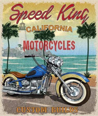 Vintage California motorcycle poster. Stock Illustratie
