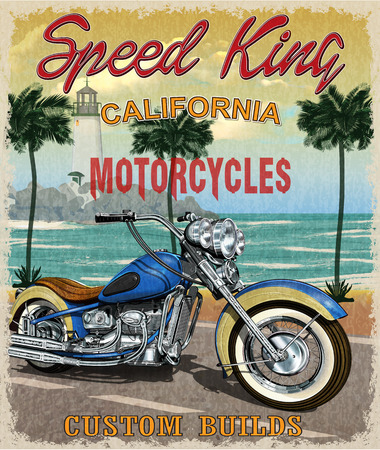 Vintage California motorcycle poster. Illustration